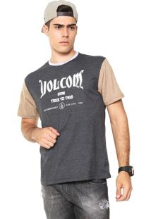 Camiseta Volcom Lettering Cinza