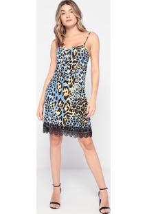 Vestido Animal Print Com Renda- Azul & Marrom Claro-Thipton