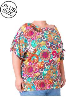 Blusa Plus Size - Confidencial Extra Casual Aplicação De Miçangas Estampada