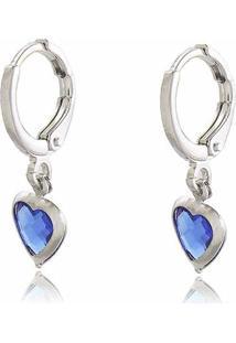 Brinco De Argolinha Click Com Pingentes De Coração Cristal Azul Em Banho De Ródio