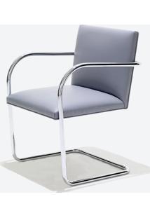 Cadeira Mr245 Cromada Linho Impermeabilizado Marrom - Wk-Ast-05