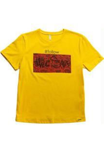 Blusa Manga Curta Com Estampa Amarelo