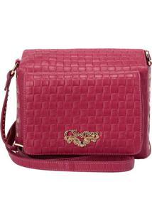 Bolsa Em Couro Transversal Com Bolso- Rosa Escuro- 1Carmen Steffens