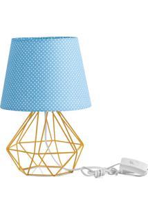 Abajur Diamante Dome Azul/Bolinha Com Aramado Amarelo - Azul - Dafiti