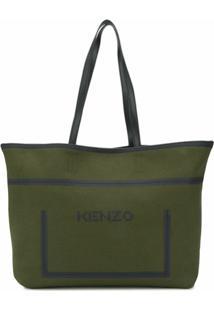 Kenzo Logo Print Tote Bag - Verde