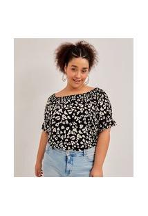 Blusa Ombro A Ombro Em Viscose Animal Print Curve & Plus Size | Ashua Curve E Plus Size | Preto | Gg