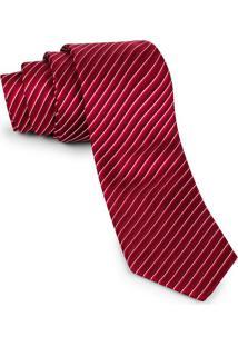 Gravata Tradicional Vermelha Listras Crop - Td38