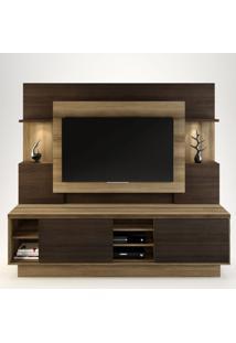 Estante Home Para Tv Até 55 Polegadas Aron Capuccino Wood/Ébano Siena Móveis