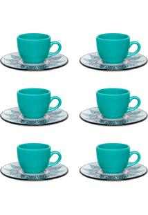 Conjunto 6 Xícaras De Café Oxford Coup Serene Porcelana Preto/Verde