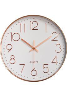 Relógio De Parede 30Cm Branco E Rosegold
