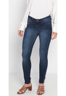 Jeans Skinny Com Zíper- Azul Escuro- Ennaenna
