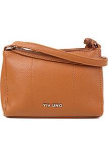 Bolsa Via Uno Mini Bag Eco Verniz Feminina - Feminino-Bege