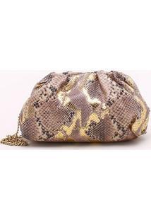 Bolsa Clutch Snake Natural - P