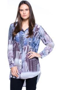 Camisa Intens Manga Longa Viscose Estampado Cinza