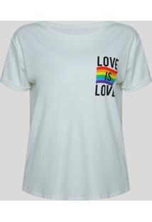 Blusa Feminina Love Is Love Manga Curta Decote Redondo Off White