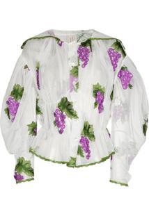 Yuhan Wang Blusa Com Bordado De Uva - Branco
