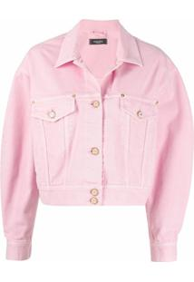 Versace Jaqueta Jeans Cropped - Rosa