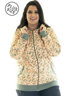 Jaqueta Konciny Moletom Estampado Plus Size 85215 Laranja