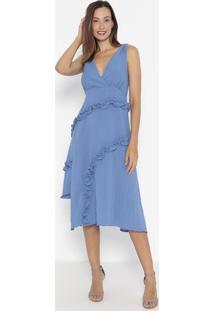 Vestido Mídi Com Franzidos & Amarração- Azul- Ennaenna