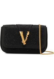 Versace Bolsa Com Aplicação Virtus - Preto