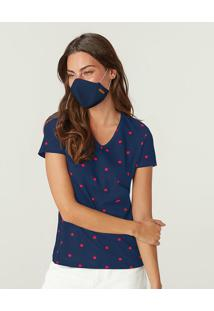 Blusa Poá Viroblock® Feminina Malwee Azul Marinho - M