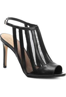 Sandália Couro Shoestock Salto Alto Com Tela Feminina - Feminino-Preto