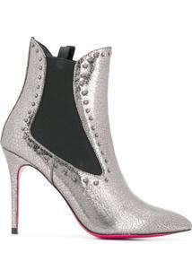 Pinko Ankle Boot Bico Fino - Prateado