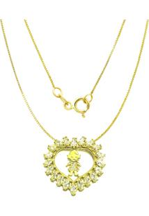 Gargantilha Prata Mil Menina C/ Zircã´Nia Folheado Em Ouro Dourado - Dourado - Feminino - Dafiti
