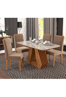 Conjunto De 4 Cadeiras Para Sala De Jantar 130X80 C/Moldura Agata/Tais-Cimol - Savana / Off White / Pluma