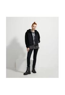 Jaqueta Jeans Sem Estampa Com Capuz E Pelos | Blue Steel | Preto | P