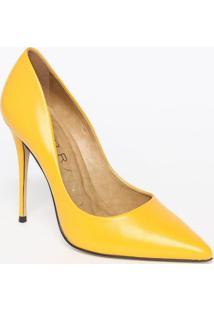 Scarpin Em Couro- Amarelo- Salto: 11,5Cmcarrano