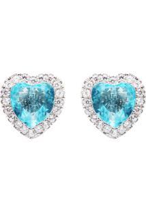 Brinco La Madame Co Coração Cristal Topázio Azul Cravejado Banhado A Ródio Branco