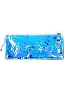 Necessaire Up4You Shiny - Feminino-Azul