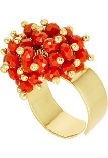 Anel Banho De Ouro Microesferas Quartzo - Feminino-Vermelho