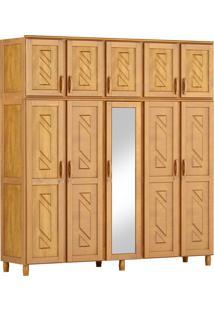 Guarda-Roupa Grécia Casal Mel Com Espelho 10 Portas 3 Gavetas E Maleiro Madeira Maciça De Pinus Cavazotto