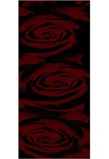 Passadeira Veludo Marbella Boreal Rosas Vermelho 60X230 Rayza