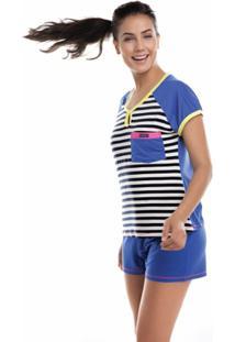 Pijama Curto Inspirate Color Block Feminino - Feminino-Azul Royal+Branco