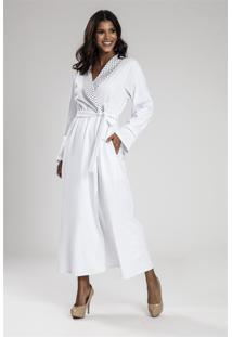 Robe Recco Longo Flanelado Elastano Branco