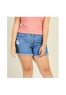 Short Plus Size Feminino Jeans Barra Desfiada Sawary