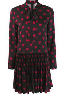 Redvalentino Vestido Com Estampa De Coração - Preto