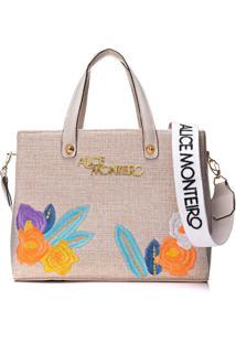 Bolsa Alice Monteiro Bordado Floral Off White
