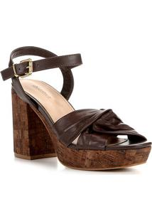 Sandália Couro Shoestock Meia Pata Cortiça Feminina - Feminino-Marrom
