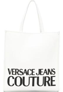 Versace Jeans Couture Logo Print Magnetic Closure Tote Bag - Branco