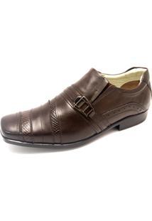 Sapato Couro Pizaflex Recortes Marrom