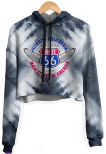 Blusa Cropped Moletom Feminina Route 66 Tie Dye Md01
