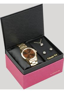 Kit De Relógio Analógico Lince Feminino + Colar + Brinco - Lrgj075L Kd49N2Kx Dourado - Único