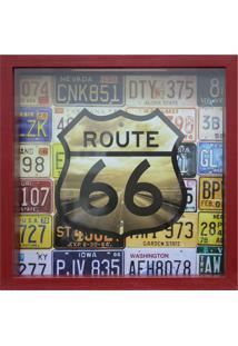 Quadro Porta Tickets 27X27Cm Route 66-Kapos - Vermelho