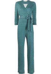 Dvf Diane Von Furstenberg Macacão Com Estampa Geométrica - Azul