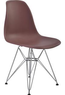 Cadeira Sem Braço Pp Base Cromada Eiffel -Rivatti - Café