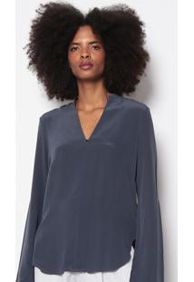 Blusa Lisa Em Seda-Azul Escuroosklen